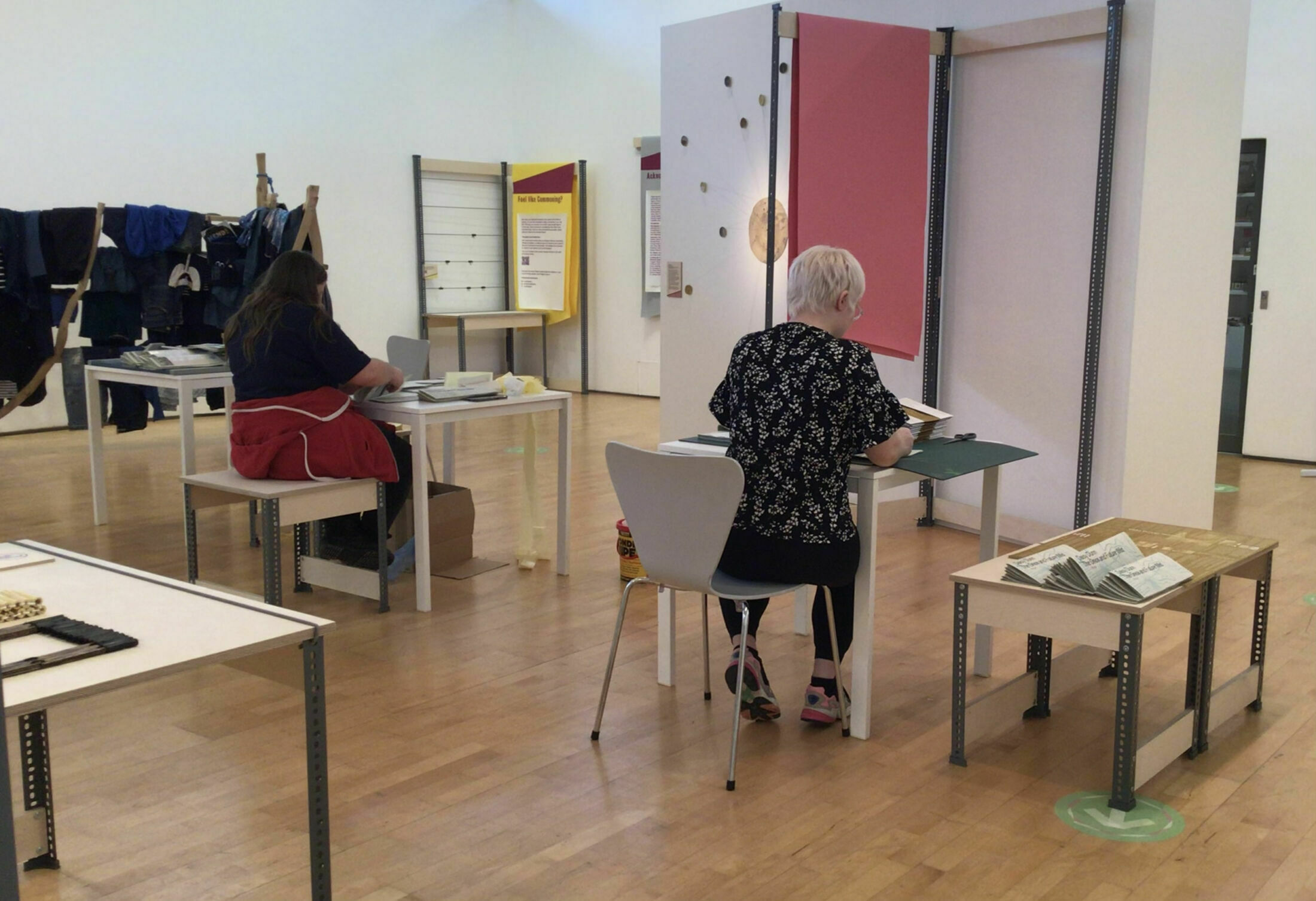 Young writers use the We Are Commoners exhibition space at Oriel Davies to assemble their publication