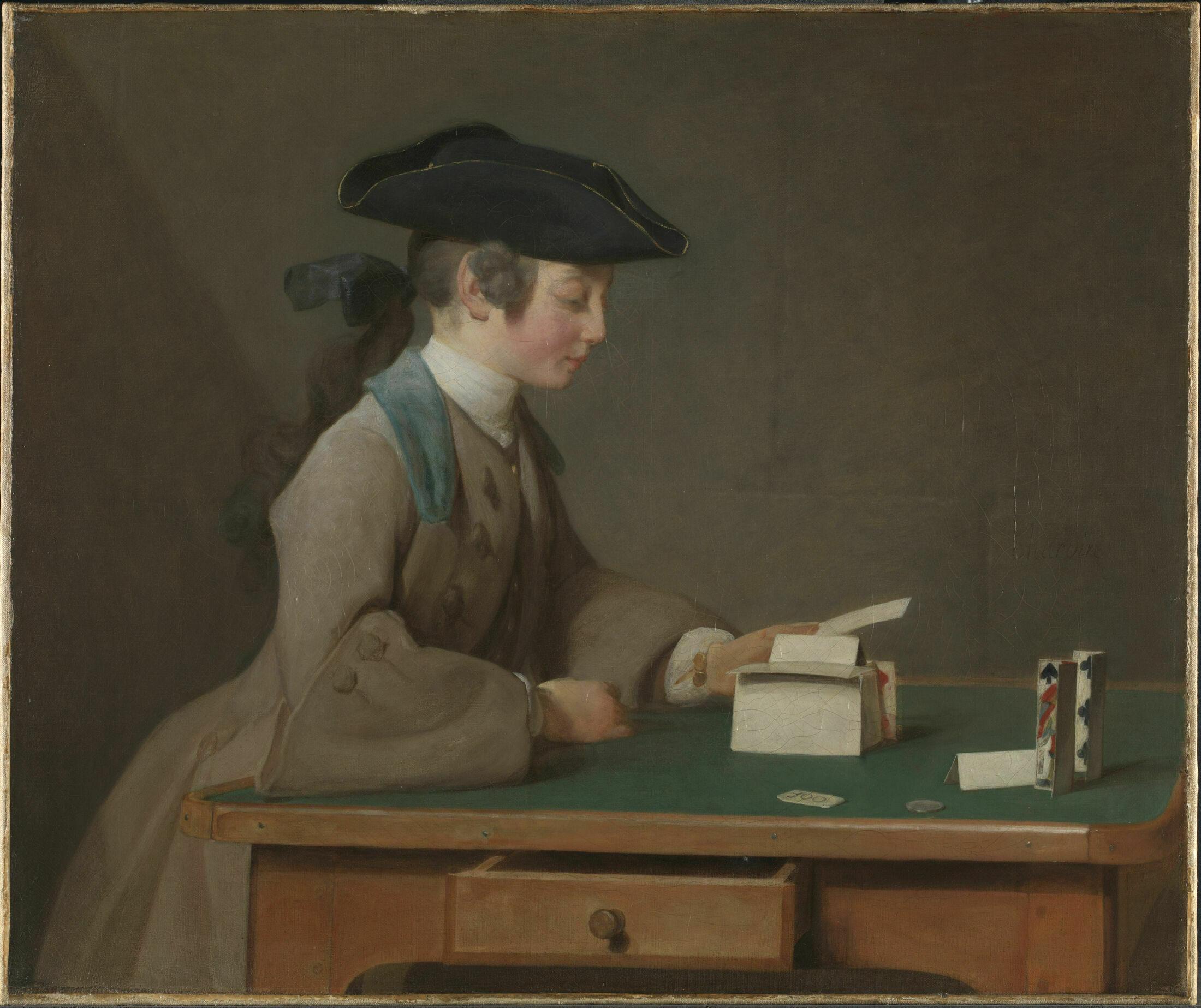 Jean-Siméon Chardin. The House of Cards (Portrait of Jean-Alexandre Le Noir). About 1740-1.