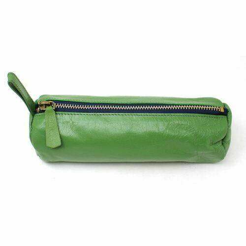 Leather Pencil Case - Green